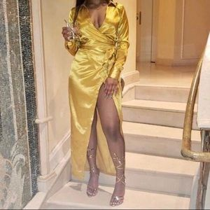 Misguided satin gold dress